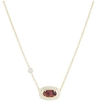 Kendra Scott Anna Short Pendant Necklace (Gold Bronze Veined Maroon Jade) Necklace
