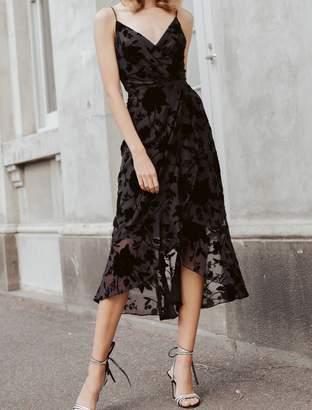 Ever New Alex Velvet Burnout Midi Wrap Dress