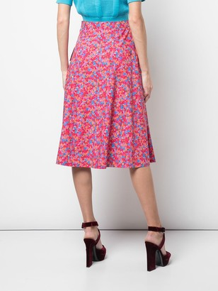 Lhd Floral Print Pocketed Midi Skirt