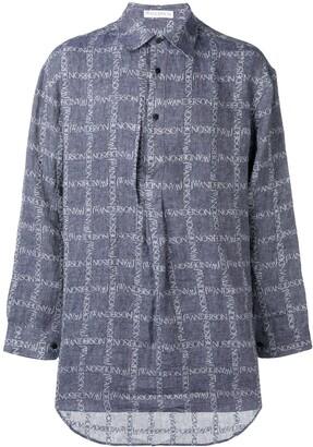 J.W.Anderson Navy Logo Grid Tunic Linen Shirt