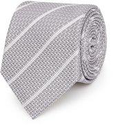 Reiss Weston - Textured Silk Tie in White, Mens