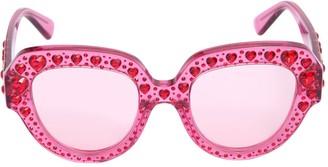 Gucci Squared Sunglasses W/ Heart Crystals
