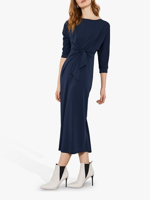 Mint Velvet Tie Front Midi Dress, Dark Blue
