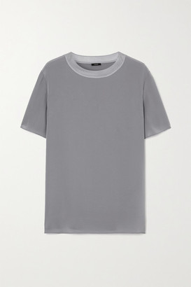 Joseph Rubin Ribbed Jersey-trimmed Silk-crepe Top - Gray