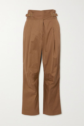 Zimmermann Ladybeetle Buckled Cotton-twill Tapered Pants - Army green