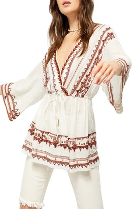 Free People Saffron Embroidered Long Sleeve Tunic