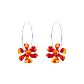 Odell Design Studio Silver Flower Power Hoop Earrings - Flame