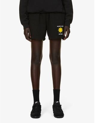 Sporty & Rich Sun Club logo-print cotton-jersey shorts