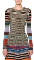 Missoni Crewneck Long-Sleeve Lurex® Striped Knit Top