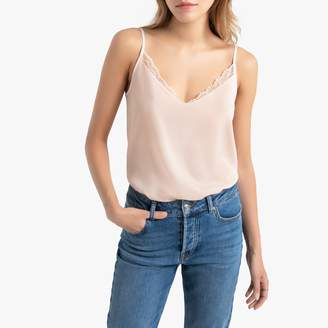 La Redoute Collections Shoestring Strap Cami with Laced Neck