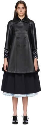 Comme des Garcons Black Faux-Leather Heart Cut-Out Coat