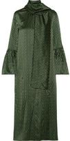 Fendi Chiffon-trimmed Printed Silk-satin Midi Dress - Green