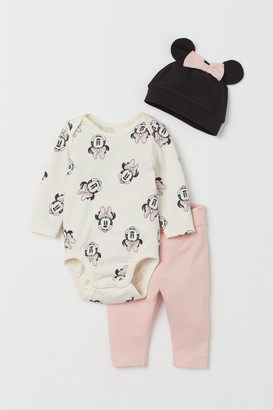H&M 3-piece Jersey Set - Pink