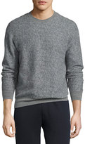 Theory Danen Heathered-Knit Sweatshirt, Gray Heather