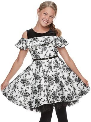 Knitworks Girls 7-16 KNIT WORKS Skater Dress/ SL Ruffle Skater Printed Dress/Belt/Necklace