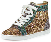 Christian Louboutin Bip Bip Glittered High-Top Sneaker, Multi