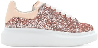 Alexander McQueen Glitter & Leather Lace-Up Sneakers