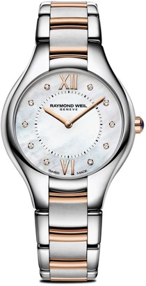 Raymond Weil Noemia Diamond & Mother-Of-Pearl Stainless Steel Bracelet Watch