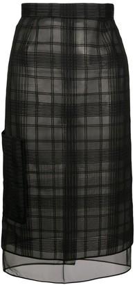 Marco De Vincenzo Sheer Checked Skirt