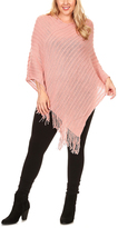 Peach Fringe Poncho - Plus
