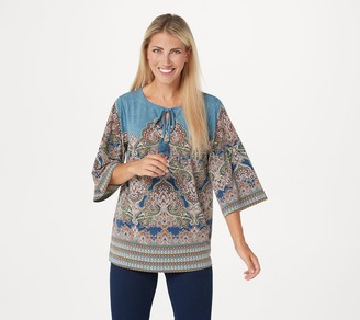 Belle By Kim Gravel Knit Paisley Top with Tassels