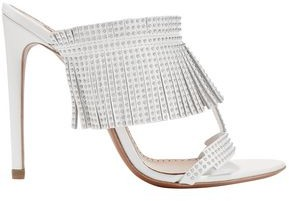 Alaia 110 Studded Fringed Leather Mules