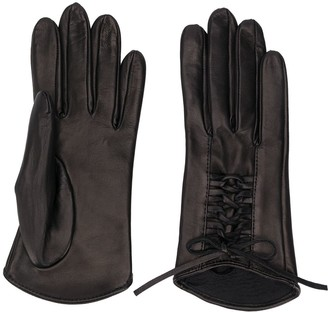 Manokhi Textured Lace-Up Panel Gloves