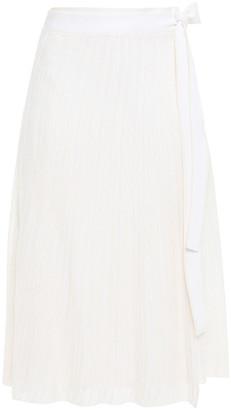 Victoria Victoria Beckham Two-tone Open-knit Wrap Skirt