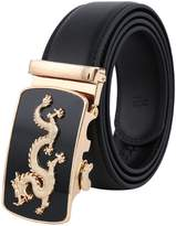 QSP Men's Leather Belt Automatic Alloy Buckle 35mm Ratchet Belt and Silver Dragon