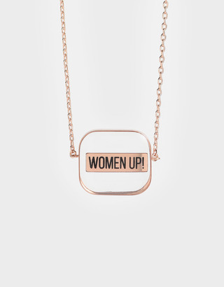 "Charles & Keith """"WOMEN UP!"" Acrylic Necklace"