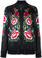 P.A.R.O.S.H. rose embroidered bomber jacket - women - Cotton/Polyester - XS