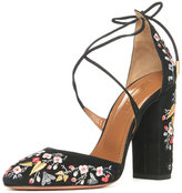 Aquazzura Karlie Embroidered Suede Block-Heel Pump, Black