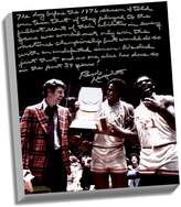 """Steiner Sports Indiana Hoosiers Bob Knight Undefeated Season Facsimile 22"""" x 26"""" Stretched Story Canvas"""