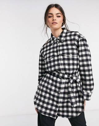 And other stories & check gingham longline belted shacket in black