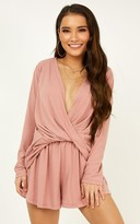 Showpo My Love Song playsuit in blush - 8 (S) Long Sleeve Playsuits