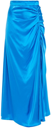 MSGM Ruched Satin Maxi Skirt