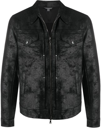 John Varvatos Acid Wash Zipped Jacket