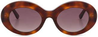 Balenciaga Oval Sunglasses in Blonde Havana & Burgundy   FWRD