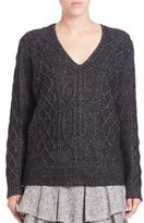 Derek Lam 10 Crosby Cable-Knit V-Neck Sweater