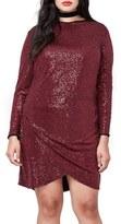 Rachel Roy Plus Size Women's Draped Hem Sequin Body-Con Dress