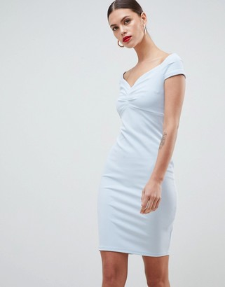 City Goddess Bardot Pencil Midi Dress