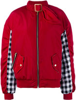 House of Holland gingham panel bomber jacket - women - Cotton/Polyester - 6