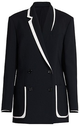 Fendi Contrast Trim Double-Breasted Blazer