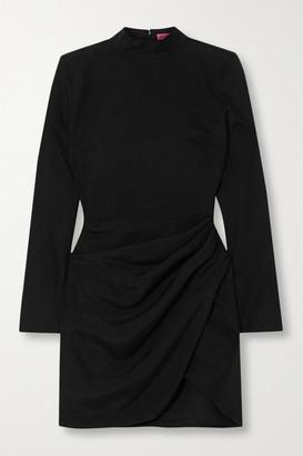 GAUGE81 Osaka Draped Wrap-effect Silk Mini Dress - Black