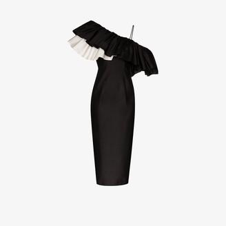 Rasario Frilled One Shoulder Silk Midi Dress