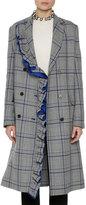 MSGM Plaid Ruffled Coat, Multipattern