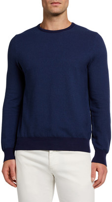 Canali Men's Solid Rice-Weave Crewneck Sweater
