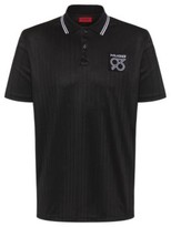 HUGO Polo shirt with drop-needle stripes and logo patch