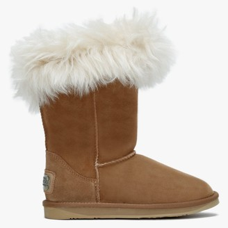 Australia Luxe Collective Foxy Tan Double Faced Sheepskin Fur Trim Calf Boots