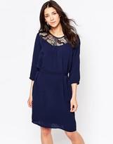 Ichi Belted Shift Dress With Lace Yoke